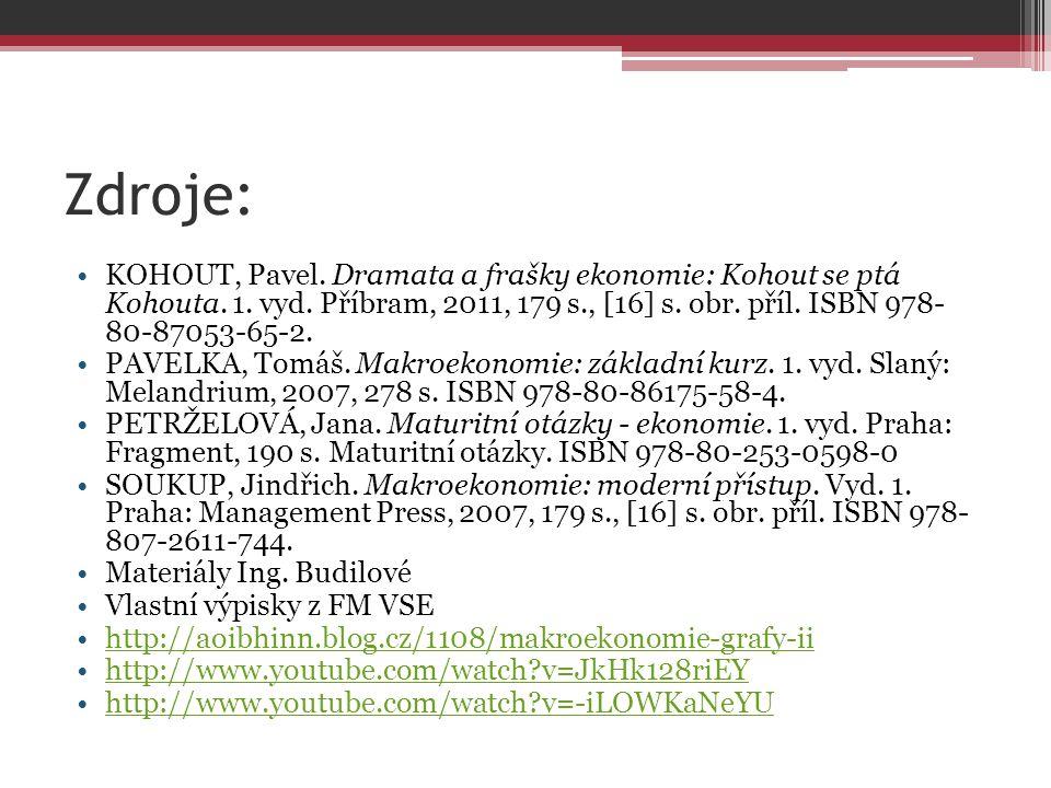 Zdroje: KOHOUT, Pavel. Dramata a frašky ekonomie: Kohout se ptá Kohouta. 1. vyd. Příbram, 2011, 179 s., [16] s. obr. příl. ISBN 978- 80-87053-65-2.